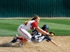 Cerritos College's Blair Shelby slides into second base under Bakersfield College's Brittney Roberts during a game on Feb 25 at the dean and Adah Gay Sports Center. BC won the game 6-5. (Gregory D. Cook / Renegade Rip)