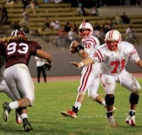 Bakersfield College quarterback Brian Duboski looks for an open receiver during a game against Mt. San Antonio College in Hilmer Lodge Stadium on Oct. 1.