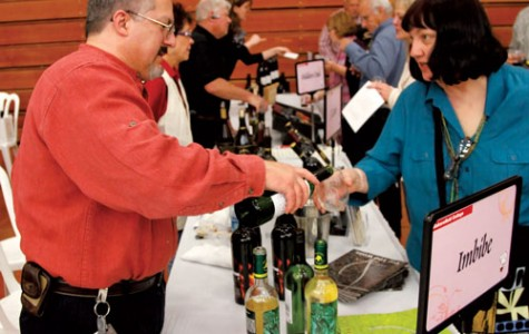 Attendees indulge in some divine wine