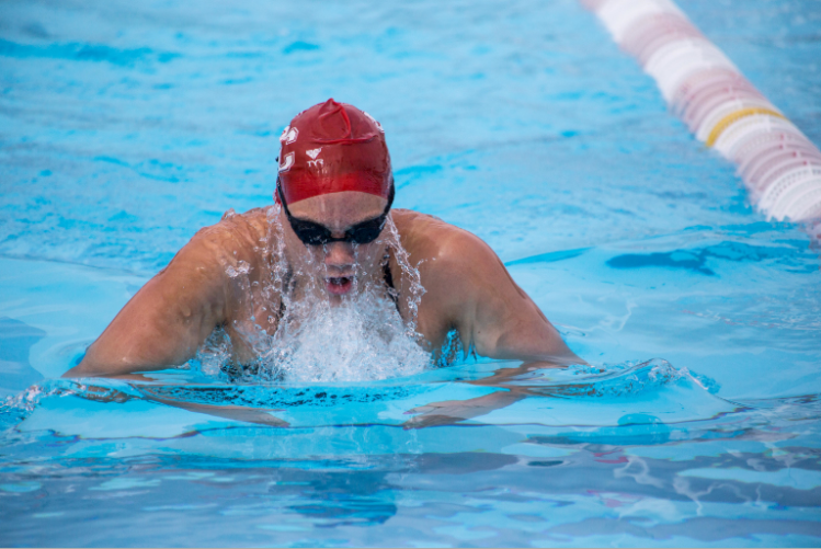 BC swimmer Jennifer Quan competing at an event.