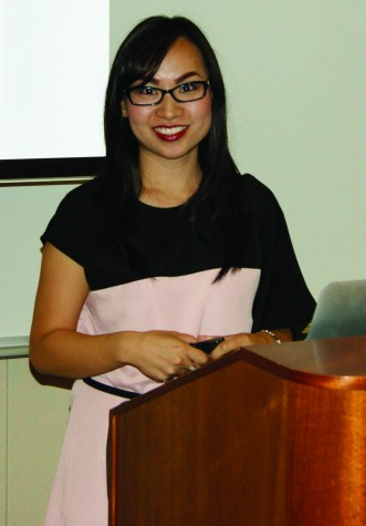 Kimberly Hoang visits Levan Center, introduces new novel.