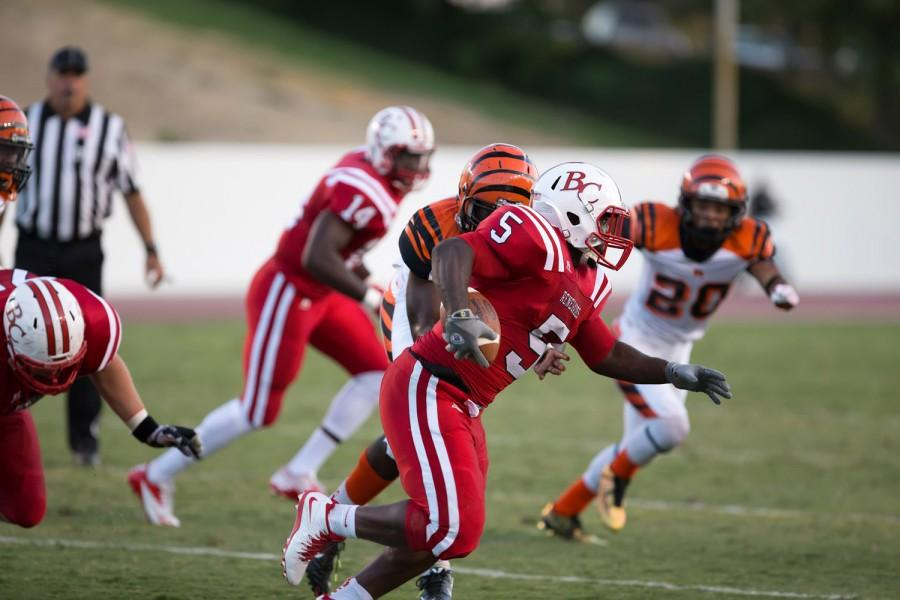 BC running back Curtis McGregor couldn't find his rhythm against the big, fast Riverside defense in his first game back after missing mostly all of last season.