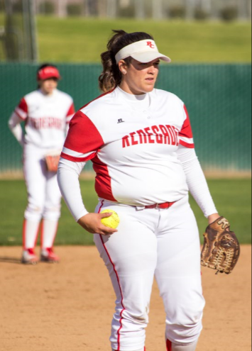 Pitcher Mckenna Valencia delivers versus Taft College on Feb. 9.