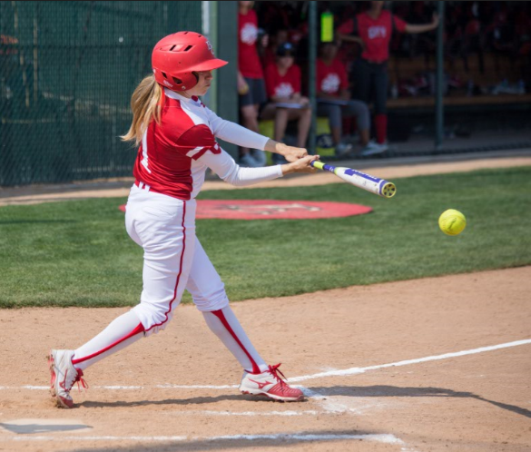 Sophomore utility player Kathryn Alderete connects for a base hit March 11 vs. Fresno.