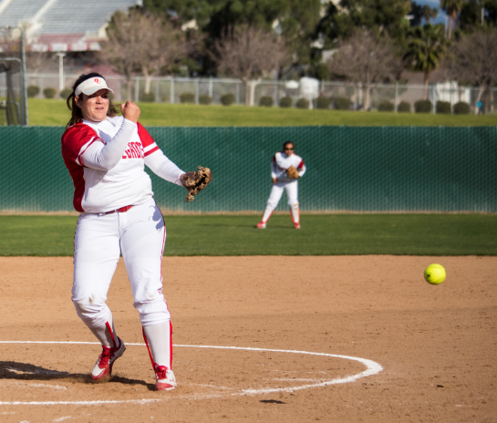 Freshman pitcher Mckenna Valencia delivers a pitch in game one of a doubleheader vs. West Hills Coalinga, Feb. 26.