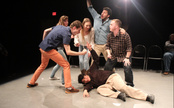 """The Brian's Beard """"improv"""" cast perform as a part of the Women's History and More itinerary."""