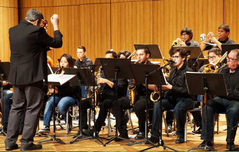 Kris Tiner directs the BC Jazz Ensemble Showcase Performance at Jazz Day on April 6.
