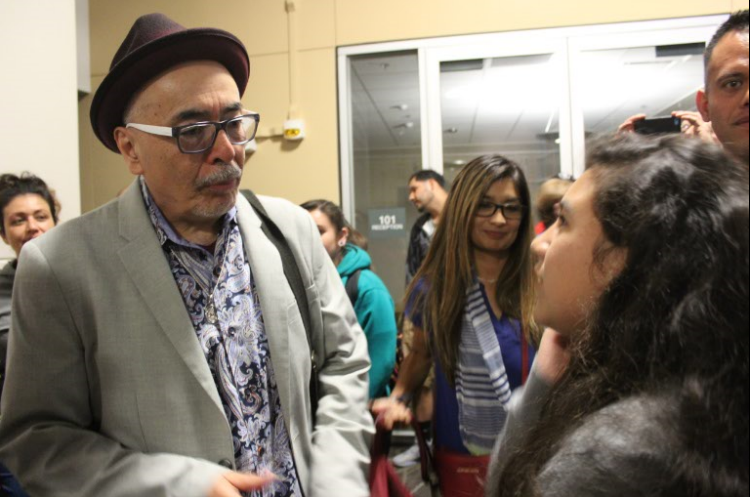 Juan Felipe Herrera meets aspiring poet Vianey Padilla after the event at the Indoor Theatre at BC on March 29.