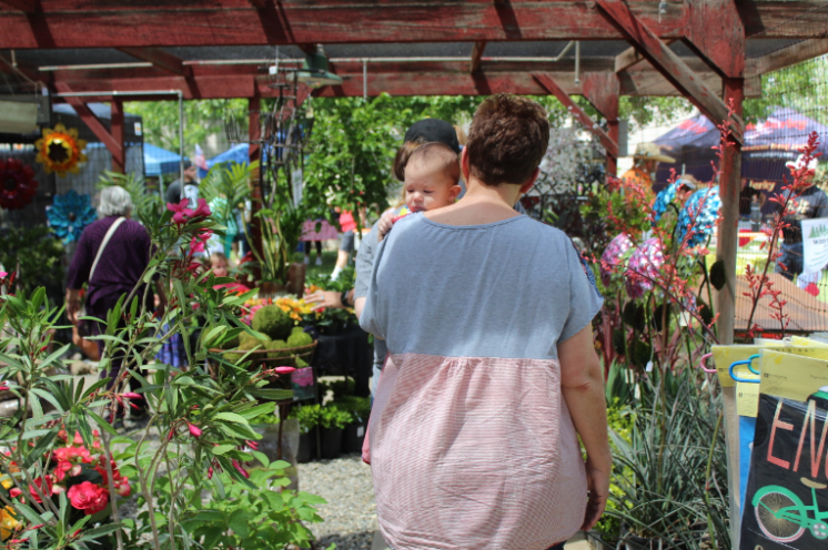 A woman walks with her baby through the flowers of the BC Garden Fest, which hosted nearly 150 vendors on April 22.
