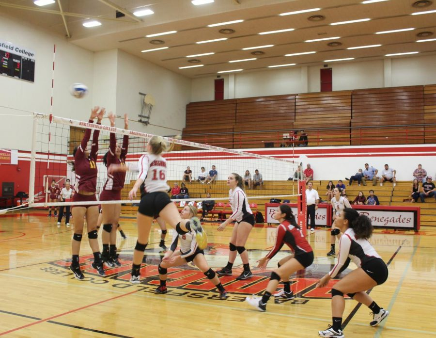 The Renegade Volleyball team looks on after Jourdon Muro hit the ball over the net.