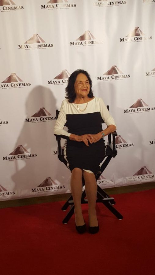 "Dolores Huerta sits in fornt of audience members after the premiere of ""Dolores,"" a documentary based on her life."