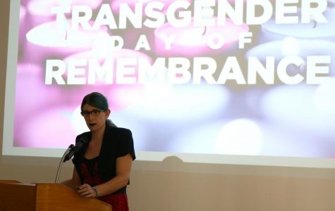 Shani December Smith speaking at the Transgender Day of Remembrance event at BC, in honor of transgender individuals who've lost their lives.