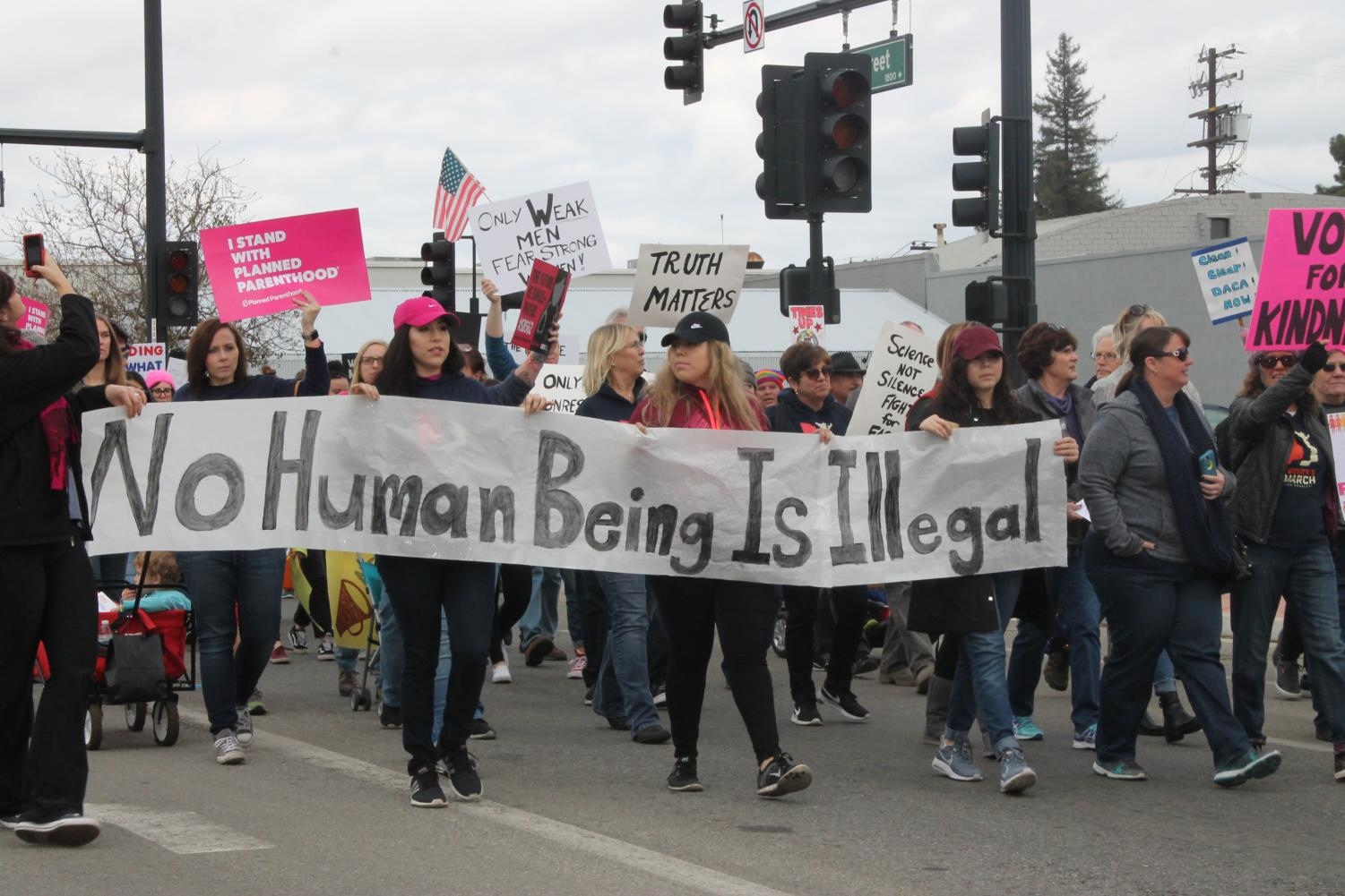 Participants take part in the first Kern County Women's March on Jan. 20
