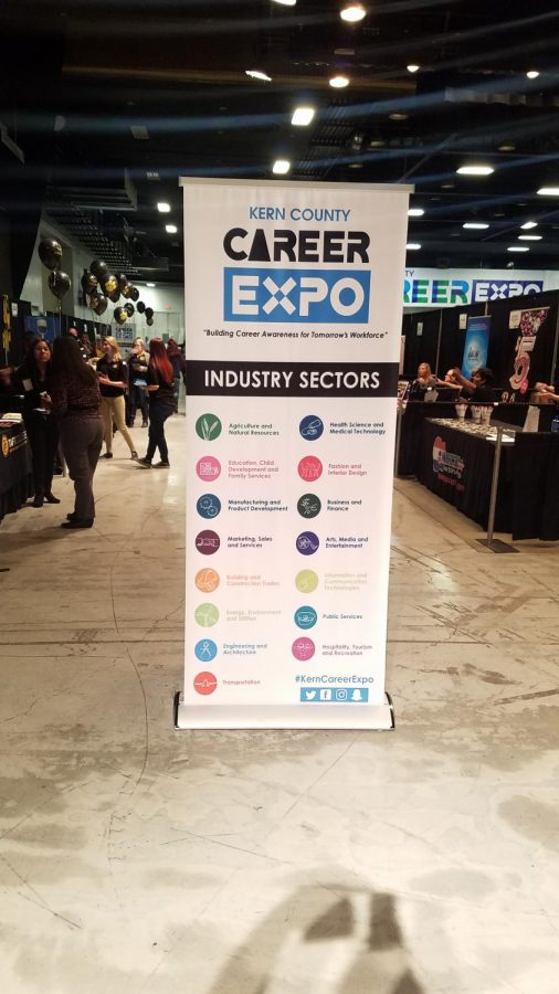 Career Expo sign explains the different career pathways in Kern County.