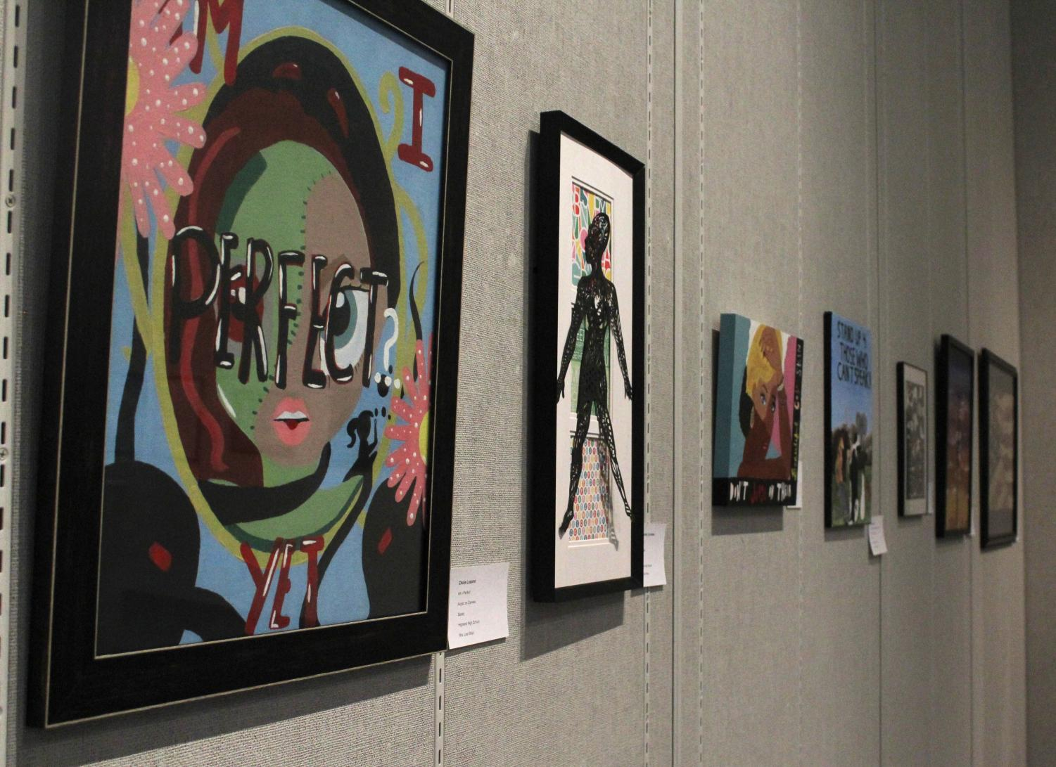 Various pieces of artwork created by Kern County high school students on display at Bakersfield College's Wylie and Mary Louise Jones Gallery for the Panorama Invitational.