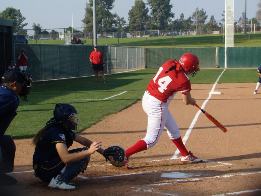 Aryka Chavez, infielder, at bat during the third inning