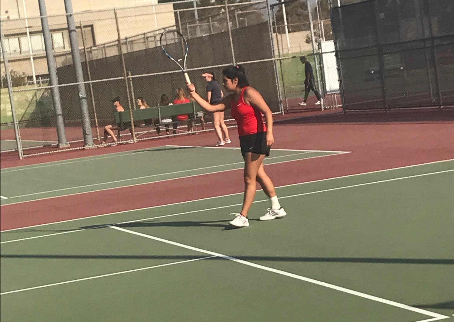 Brittany Aguilar giving one of her many winning serves.
