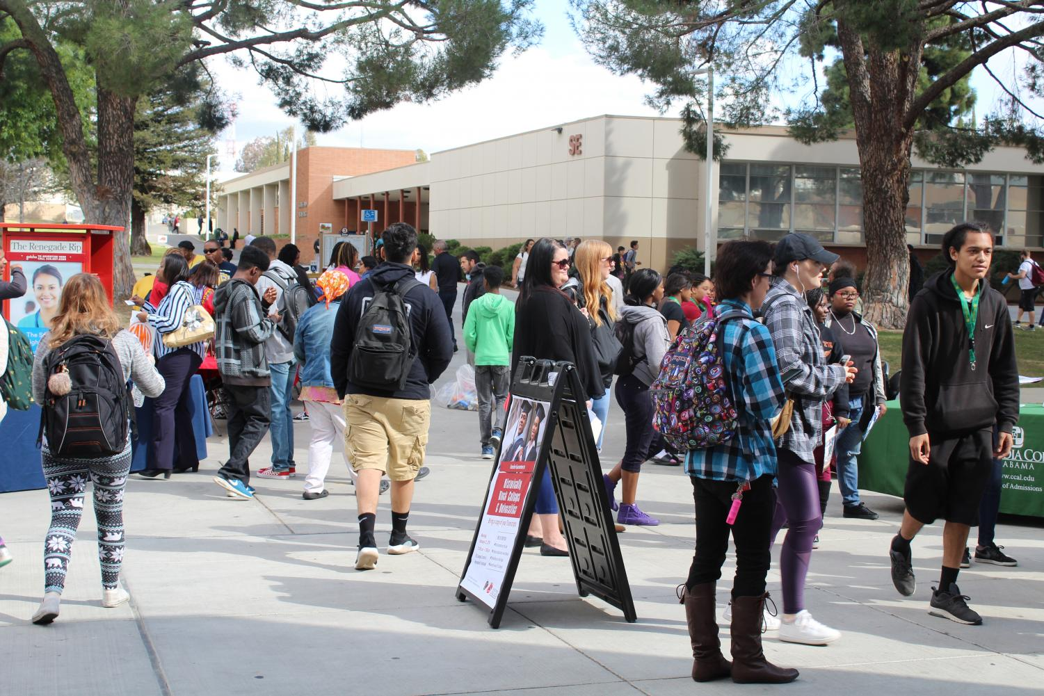 Bakersfield College students gathering around at the quad for the HBCU event.