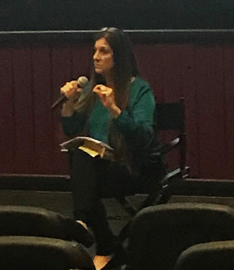Dawn+Schiller+human+survivor+of+Human+Trafficking%2C++speaks+to+a+packed+auditorium+at+the+Maya+Cinemas+on+Jan.+29.