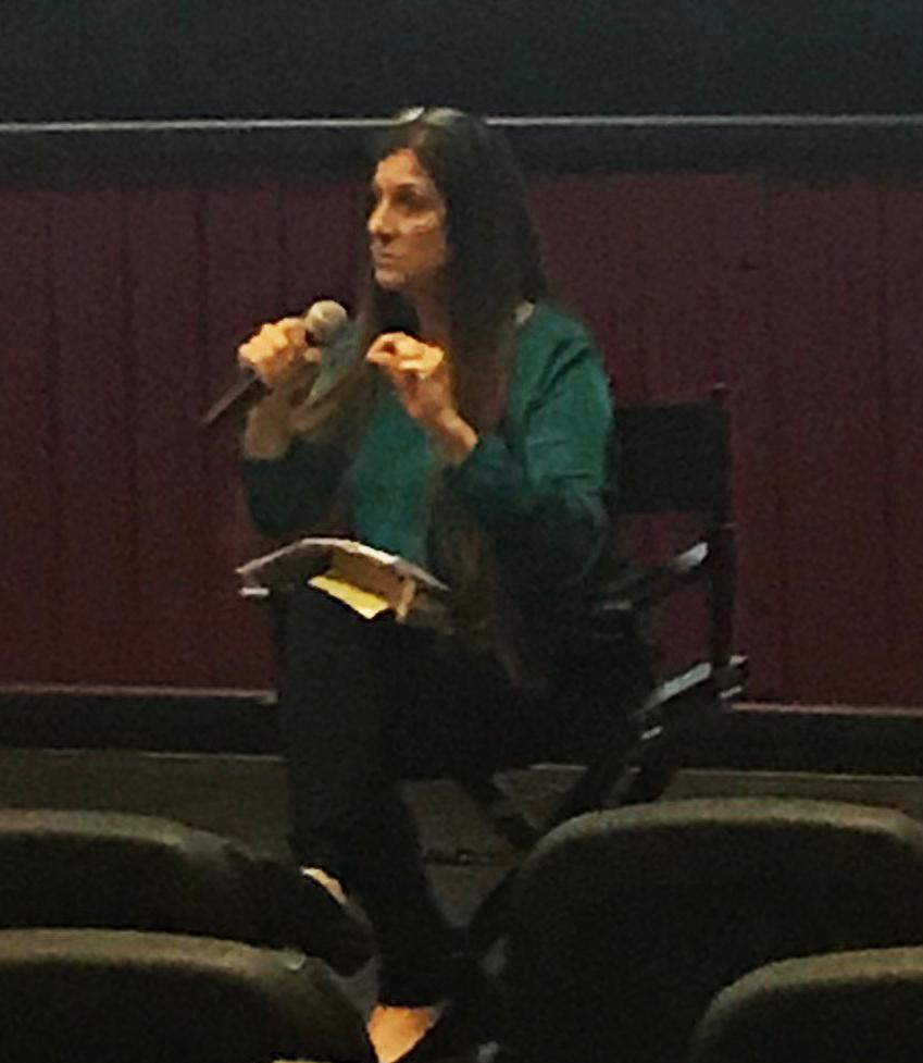 Dawn Schiller human survivor of Human Trafficking,  speaks to a packed auditorium at the Maya Cinemas on Jan. 29.