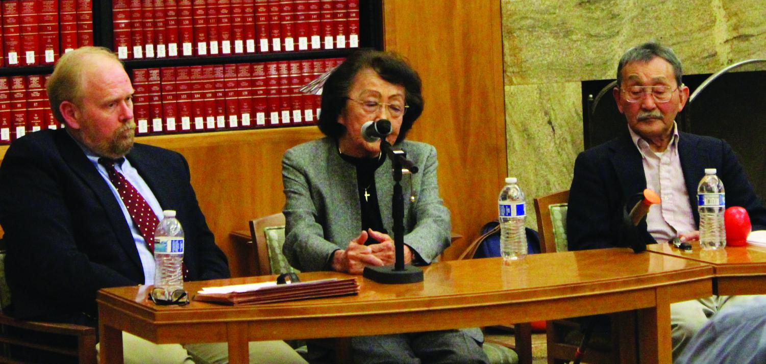 Dr. Douglas Dodd, Mary Higashi and Dr. Fijimoto discuss and answer questions about the Japanese Internment event that was held in the CSUB library Tuesday night