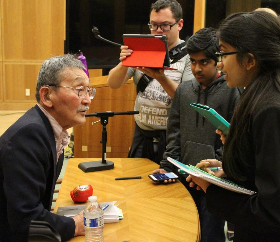 Dr. Fijimoto talks to a group of middle schoolers from a local Bakersfield middle school and answers their questions about his experience in an internment camp