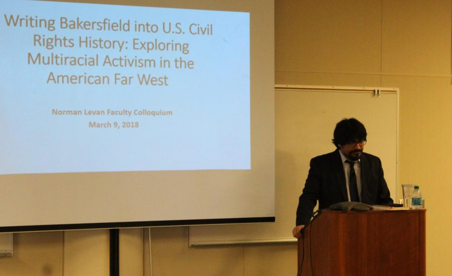 Oliver A. Rosales speaks about the history of civil rights and Exploring Multiracial Activism in the American Far West at the Norman Levan Center on March 9.