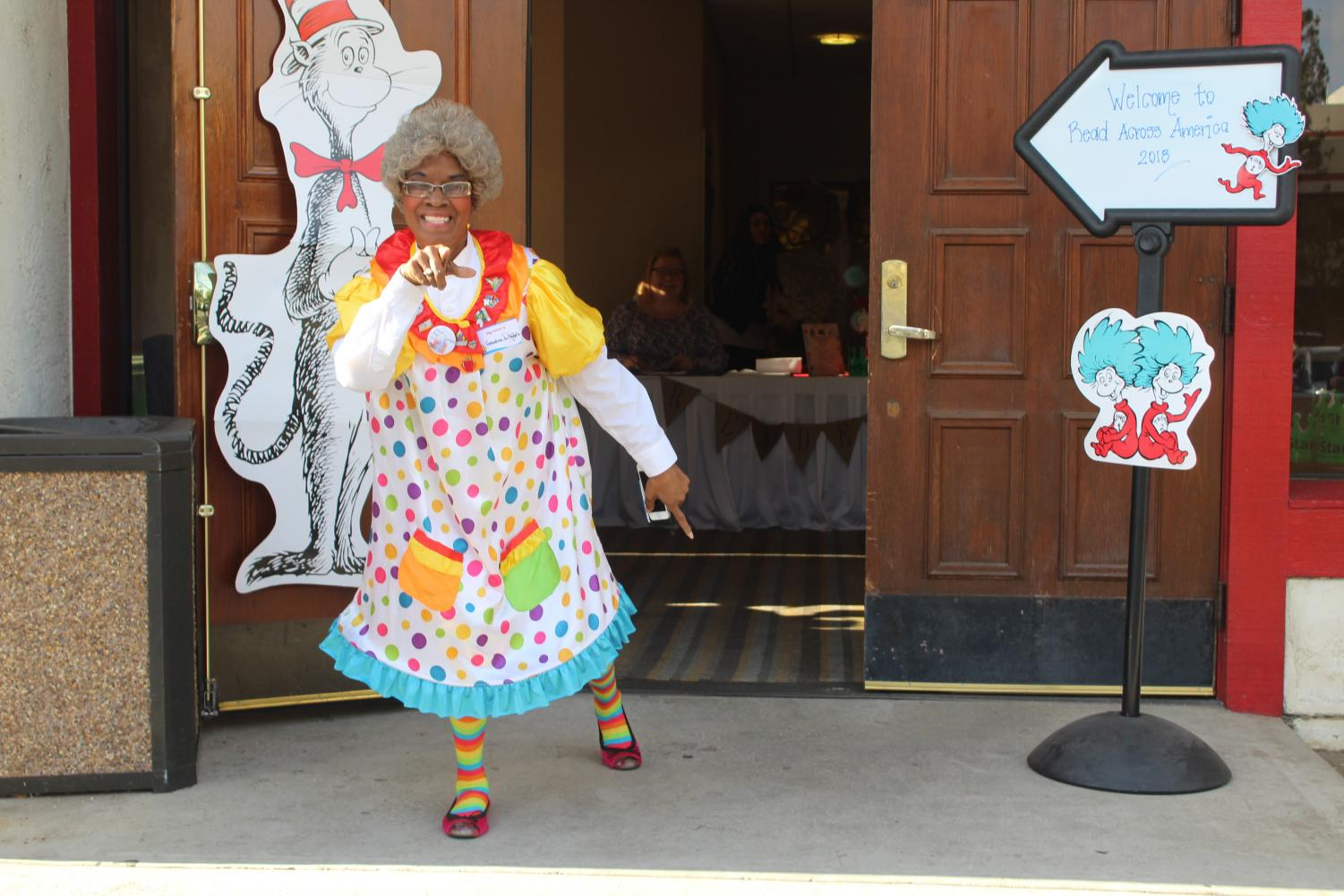 Grandma Whoople having a bit of fun before the CAPK Read Across America ceremony ends.