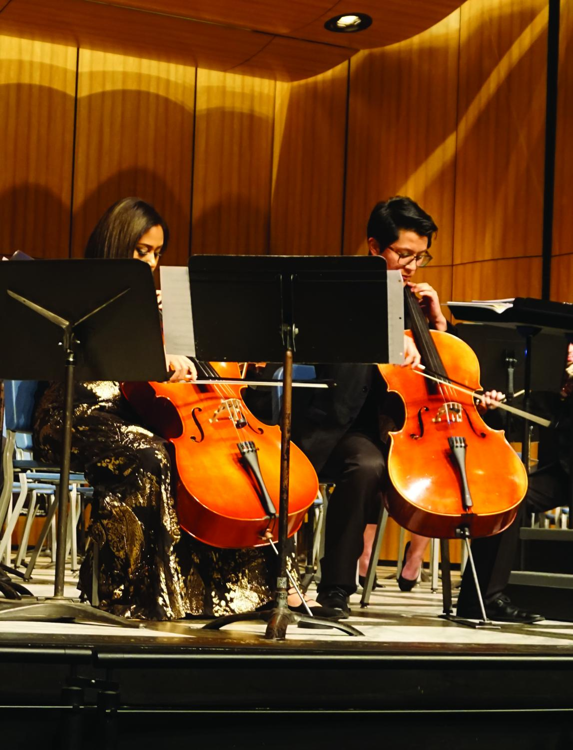 Cheyenne Toussaint and Sebastian Lee performing a cello duet.