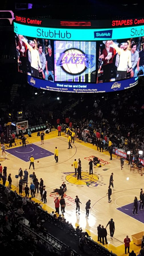 View+of+the+court+as+LA+Lakers+and+Milwaukee+Bucks+practice+before+the+game.