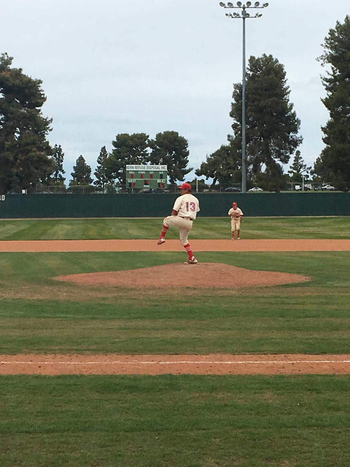 1.	Bakersfield College pitcher Joey Salinas on the mound in the top of the ninth inning in their game against LA Mission on March 20.
