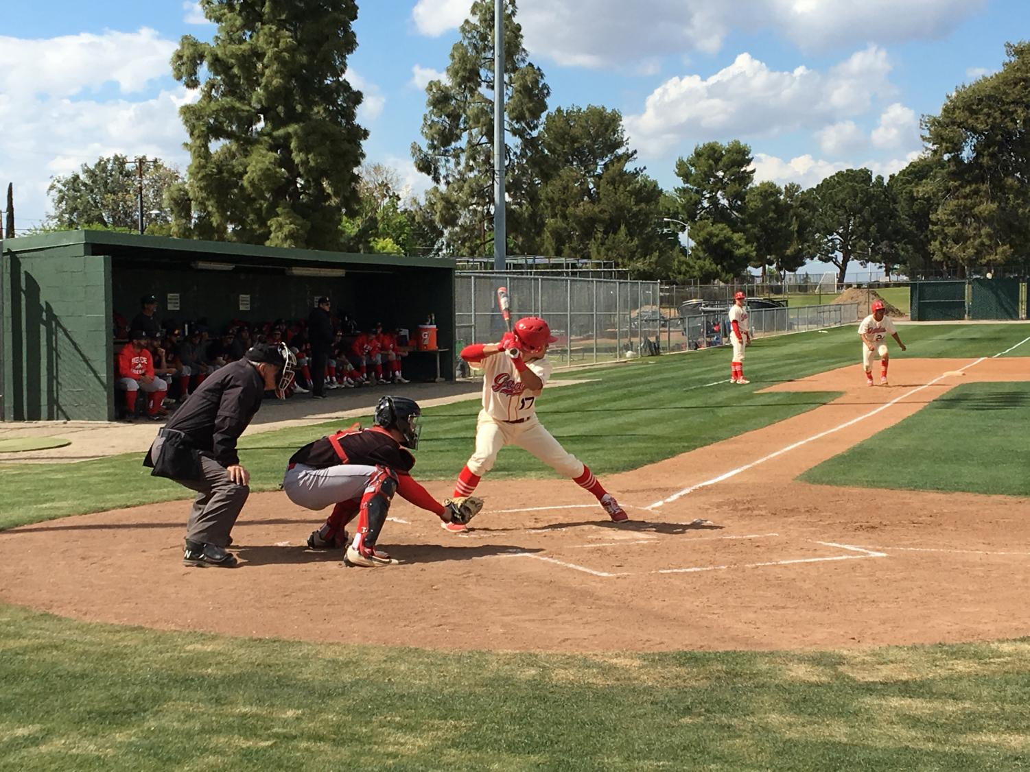 Bakersfield College player Joe Pineda preparing for a pitch against LA Pierce in the bottom of the second inning on April 19.