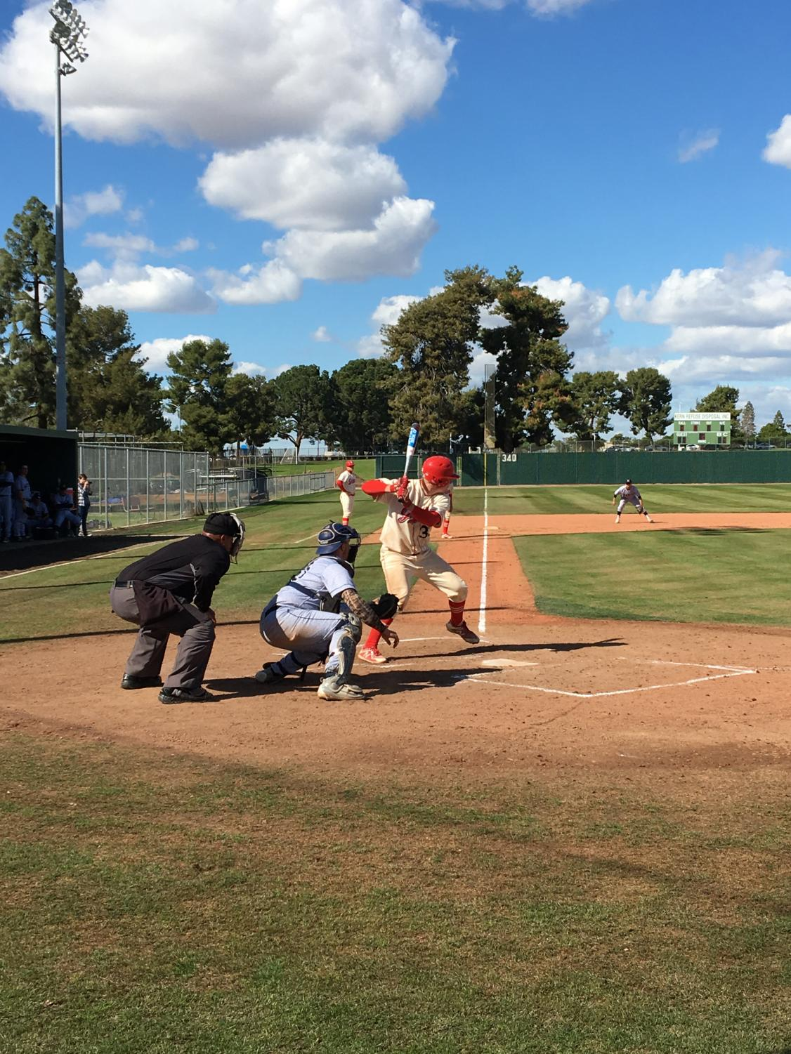 1.	BC player Zach Williams preparing for a pitch against LA Mission College in the bottom of the first inning on March 15.