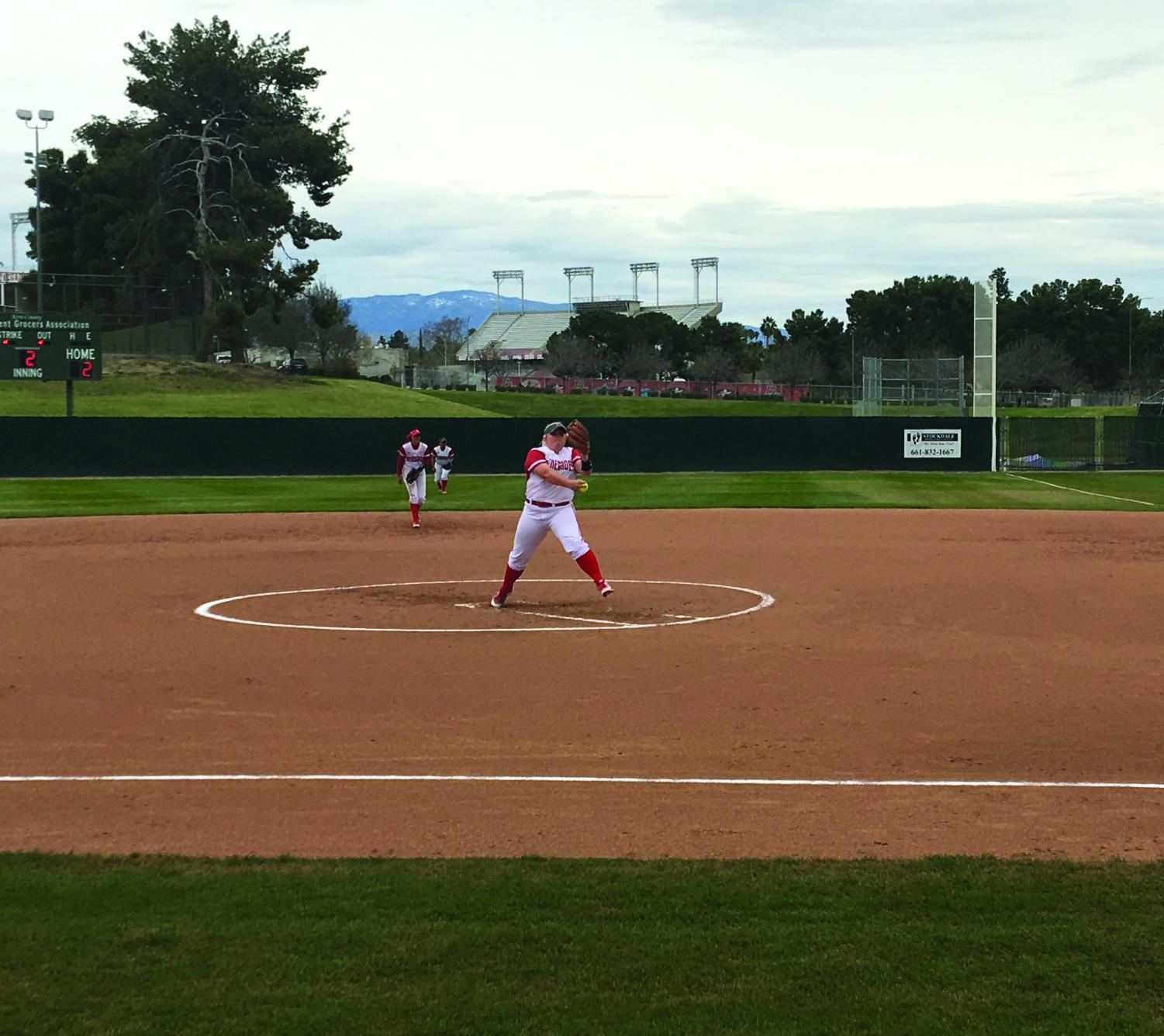Bakersfield College pitcher Kylee Fahy warming up on the mound in their game against Cuesta College on March 20.