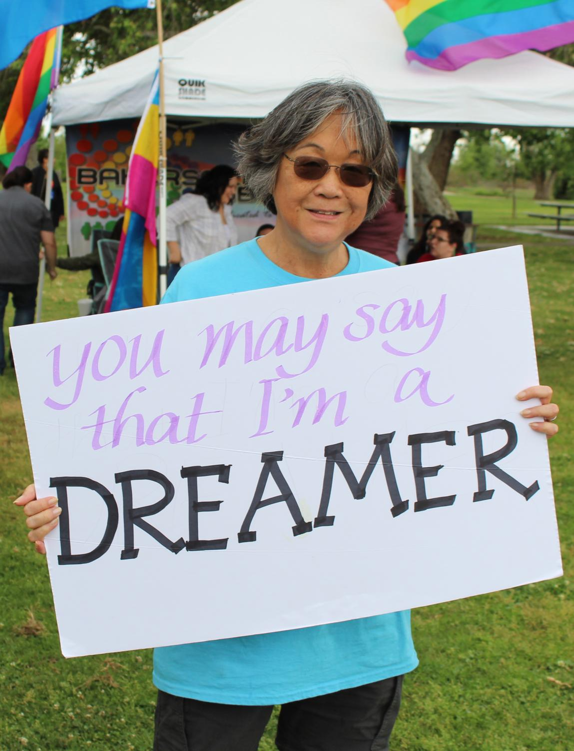 Sara Pettiford shows support at the rally commemorating MLK for the 50th anniversary of his death.