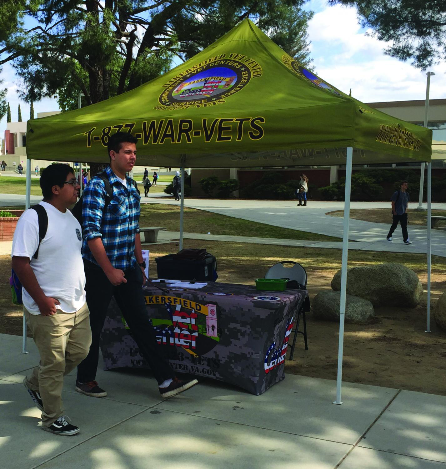 The Vet Center sets up a booth on campus to offer services to Bakersfield College veterans.