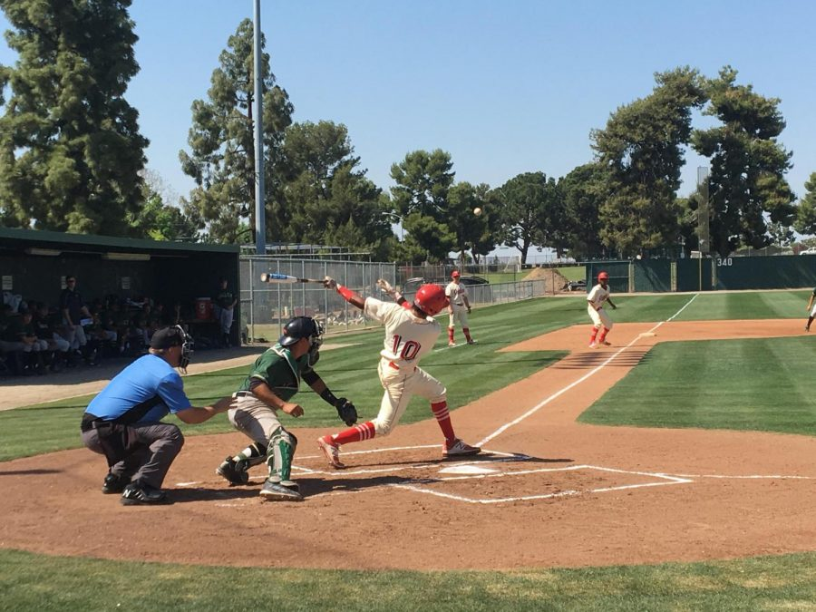 Bakersfield College player Kyle Willman making contact with the ball in the bottom of the second inning against LA Valley on April 26.