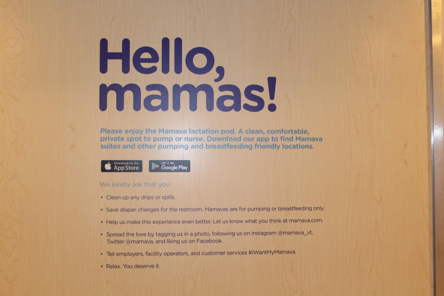 The sign inside the lactation booth asking users to clean after themselves.