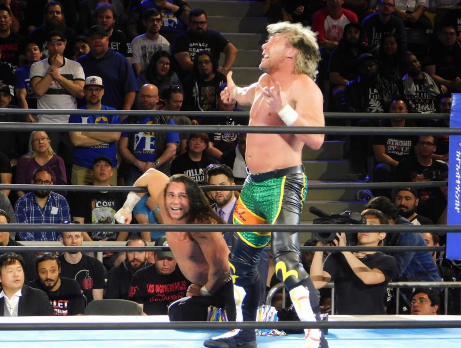 Kenny+Omega+getting+ready+to+hit+his+finisher+%22V-Trigger%22+on+his+best+friend+Matt+Jackson%2C+one+half+of+the+Young+Bucks
