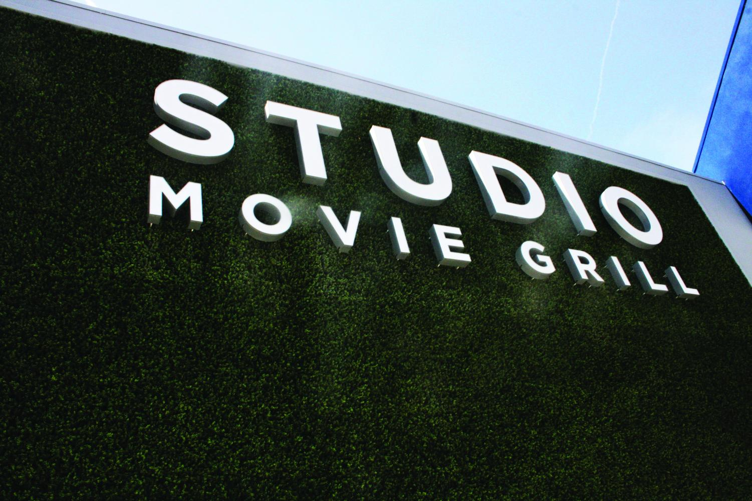 Studio Movie Grill Marquee displayed outside the new plush-seat full-menu service theater on Calloway and Rosedale.