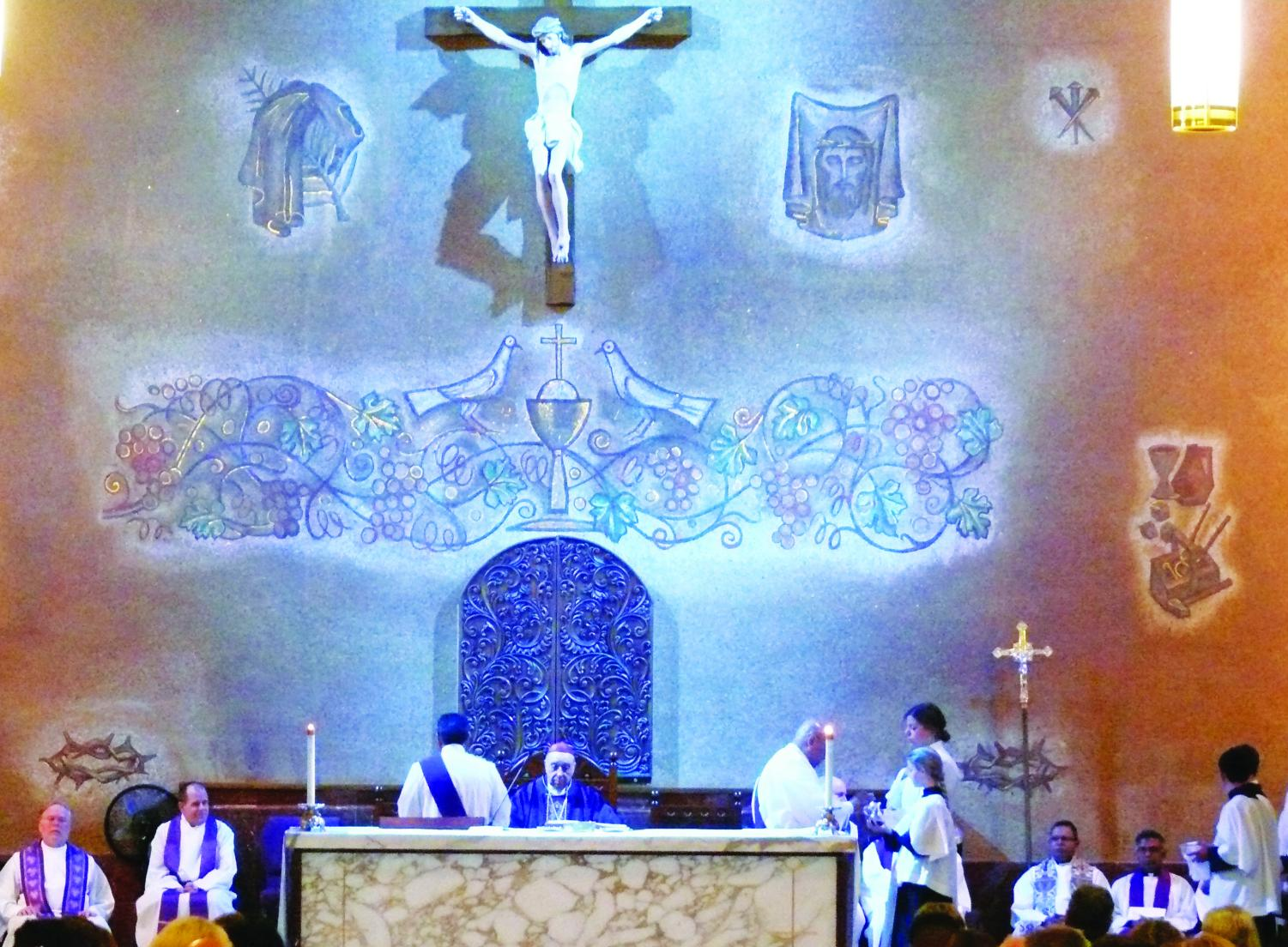 Bishop X. Ochoa and priests from the local parishes all come together to celebrate Mass.