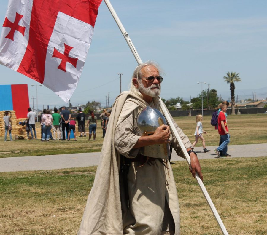 Medieval enthusiast, Mike Scott, attends the Medieval California Festival in full costume.