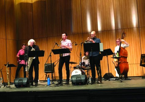 Jazz group, The Viny Giola Sextet, playing at the Creative Music Summit.