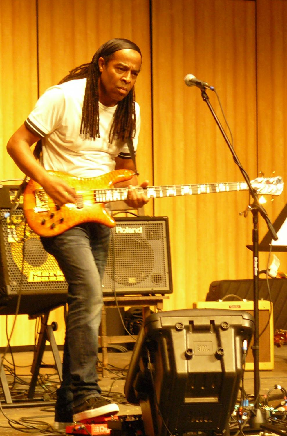 Doug Wimbish performs passionately for a large crowd at the Indoor Theater on Sept. 24. He is the bassist for Living Colour and was a member of the hip-hop group The Sugarhill Gang.