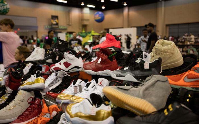 A display of different shoes at SneakerCon.