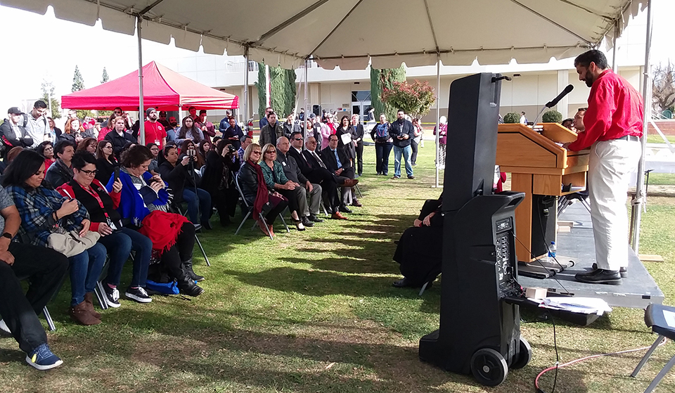 1.Director of Student Life Nicky Damania, speaks to a crowd of listeners at the Campus Center Groundbreaking event on Jan. 16.