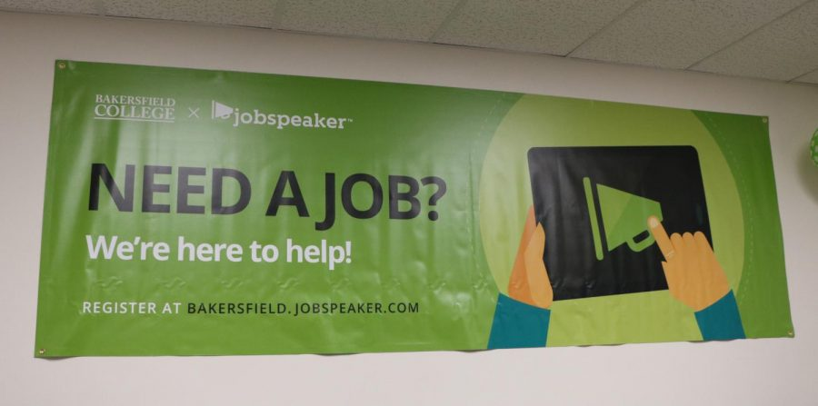A+Jobspeaker+banner+displayed+in+the+Family+and+Consumer+Education+building+at+BC.