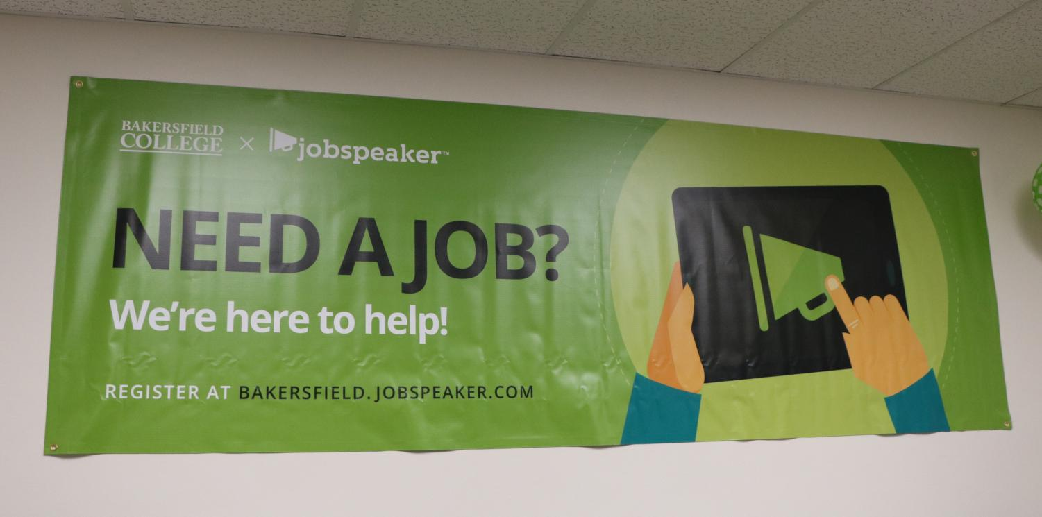 A Jobspeaker banner displayed in the Family and Consumer Education building at BC.