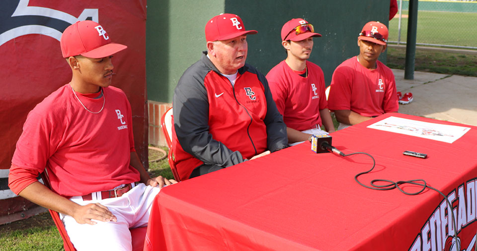 BC's head baseball coach Tim Painton (middle left), with Nathan Ortiz, Kameron Willman, and Ashanti Ross taking about goals and expectations for this baseball season.