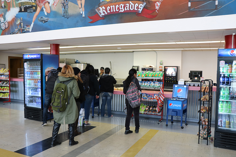 Bakersfield College students wait for food and drinks at the Huddle.